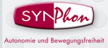 An oval with squared off ends is divided into red and white with the company name written: SYN in white Printed capital letters and Phon written in red script.