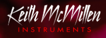 """The company name, Keith McMillen, is written in a white handwriting-style font with the word """"instruments"""" written in all caps text font in red below it."""