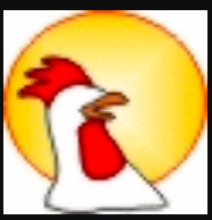 Oralux logo is shown which is the side view of  a white rooster drawn without an eye in front of a full sun with an open beak.