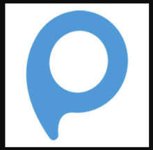 Pictotravel icon is shown as a stylized letter P that is mostly a round blue circle with a very short tail.