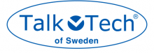 """An oval is shown drawn in blue with a blue text font """"Talk Tech"""" on the first line and written in a smaller font on the second line is """"of Sweden"""". Between the words Talk and Tech is a solid circle broken by a white letter """"v""""."""