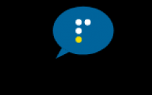 Logo of conversation bubble with a braille 'p' in the middle.
