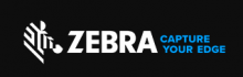 The company name ZEBRA is written in all capital white letters on a black background. The icon that precedes the name is a stylized Zebra head formed by a few thick slanted white lines that interact with the black background to realize its shape. The tag line follows the name and is written on two lines in blue: Capture your edge.