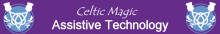 Celtic Magic Logo has a purple background with the name centered and written in script with Assistive Technology written below it. A celtic knot is on either side.