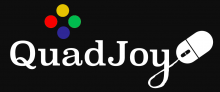 "The company name Quad Joy is written in a text font without a space between the 2 words. The tail of the letter ""y"" becomes the tail wire and ends with a computer mouse. There are 4 circles of color above the word Quad in a diamond array: Yellow, green, blue, and red, circling to the right."