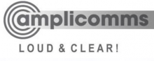 amplicomms logo: A gray target with a rectangle stretching out to the right; the name amplicomms is written inside the rectangle, Loud & Clear! is written below the company name