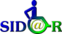sidar logo is shown with the letters SID written in a blue capital text font. The a is the at sign within a green circle wheel of a wheelchair that has a blue silhouette of a person sitting on it. The letter R is in a green capital font.