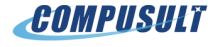 Compusult Logo: The name Compusult in bold, blue lettering with an image of a shooting star wrapping around and under the name, the star landing on the top of the letter T