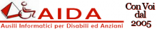 "COOPERATIVA SOCIALE AIDA ONLUS Logo: A red and white pyramid with an icon of a person in a wheelchair beside it, the word AIDA written in red; below ""IT and communication aids for the disabled"" is written in Italian. To the upper right, in Italian, ""With you since 2005 is written"""