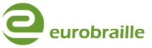 """Eurobraille International logo is shown with the name in all lowercase green type font and a stylized white letter """"e"""" in a green circle."""