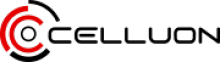 Celluon logo is shown with all capital letters written in black with an icon preceding it. This icon is made up of circles that are broken and somewhat radiating and are red or black in color.