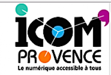 Icom is written in a thick black type font with the letter i dotted in green and the circle of the o colored blue. There is a purple curly apostrophe , like a speech bubble, on the top right corner of the M. Provence is written underneath with the o written as an orange dot.