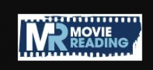 "The logo is shown written on a dark blue piece of film. A white capital M shares its final leg with the first down stroke of a blue capital R. The word ""movie"" is then written in white above the word ""Reading"", which is written in blue."