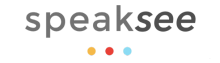 """The words """"speaksee"""" in grey sans-serif font. Below, three multi-colored dots underline them."""