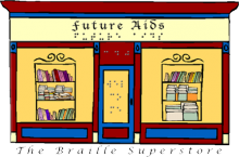 """Future Aids logo, which features an illustration of a shop front with """"Future Aids"""" written in both Braille and English above the entrance."""