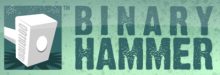 "Binary Hammer logo, which features a white hammer with binary code on it, next to the words ""Binary Hammer"" in sans-serif font. The logo words are dark green, and the logo background is a lighter shade of green."