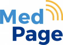 "MedPage logo, which features the word ""MedPage"" in two shades of blue, with a yellow antenna signal-like graphic next to the words."