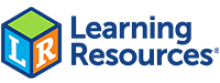 "The Learning Resources logo, which features a colorful toy block with the letters L and R and the words ""Learning Resources"" next to it."