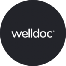 "The Welldoc logo, a black circle with the words ""welldoc"" in white."