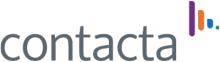 "The company logo, which features the word ""contacta"" in grey, sans-serif font, and a multi-colored antenna graphic in the top-right corner."