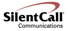 """The company logo, which feaures the words """"Silent Call Communications"""" in black serif font with a red """"Nike"""" swoop over the top."""