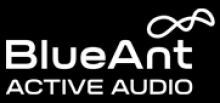 "A logo with a black background and white font, reading ""BlueAnt, Active Audio."" In the top-right corner, there is a white infinity sign graphic."