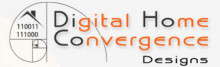 """An off-white logo resembling a """"Fibonacci's sequence"""" spiral design with an illustration of a house in the center. Next to it, the words, """"Digital Home Convergence Designs"""" in black and orange font."""