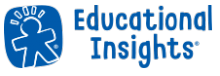 "A blue logo with a ""cookie cutter"" outline of a child. Next to it, the words ""Educational Insights"" in blue."