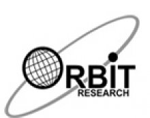 """A black planet an """"orbit"""" graphic. The planet serves as the """"O"""" in Orbit Research, which is printed in black font."""