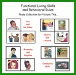 "A grid of different images against individuals performing various daily living activities against a white background. Above are the words ""Functional Living Skills and Behavioral Rules."""