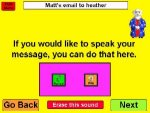 Large yellow square showing screenshot of email input screen with large colored control buttons.