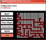Screenshot showing name of game being played across the top, a menu of command options along the left side, and a maze on the right.