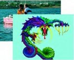 Colorful drawing of an angry purple and green dragon overlaid on a picture of two people fishing from a boat.