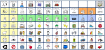 A large grid featuring many different symbols and icons with different colored backgrounds.