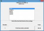 Screenshot of software showing a large window in the middle of the screen with five word choices and a sentence above with analogy that leaves out the comparison for the user to choose.