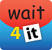 Square app logo with red on top the lowercase word wait, with blue on the bottom and the number 4 next to the black lettering it in a white box.