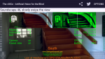 The vOICe for Android application centered on the entrance of a brown staircase with a similar version in the top right corner rendered in neon green.