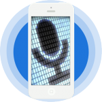 A white smartphone with an image of a black microphone inside a grid of small rectangles against a background of a blue circle with two lighter blue bands around it.