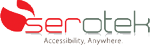 Serotek logo of company name and red circle with white curved stripe and Accessibility, Anywhere written below it.