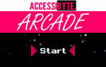 "Screenshot of a white, fuschia, and black-colored program interface with the words ""Accessibyte Arcade."" In the center, there is the word ""Start"" in classic arcade font."