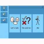 """Communication screen with the phrases """"Let's talk,"""" """"yes and no"""", and """"me"""" accompanying pictograms"""