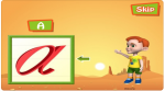 """An animated sunset desert scene with a cartoon boy pointing to a cursive """"a"""" in a box to the left of the screen."""