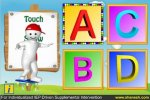 """Screenshot of a colorful iPad app displaying the letters """"A,"""" """"B,"""" """"C,"""" and """"D."""" To the left, a cartoon illustration of a boy character points to the letters."""