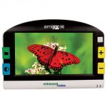Rectangular handheld device with a rounded top, two colored control buttons on either side of a widescreen display with the image of a butterfly in the center.