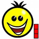 A large, round yellow smiling face inside a black circle with a small vertical bar of three squares on the lower left.