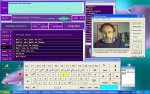 Screenshot of the speech program (top left),  an on-screen keyboard (below) and a head control program (middle right)