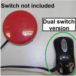 """A red, round switch device with a note alongside reading """"Switch not included"""" and a black mouse to the right. In between, a note reads """"Dual switch version."""""""