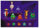 Black and purple background with various children's animated characters. Below them are five menu icons with various color swirls and geometric shapes.