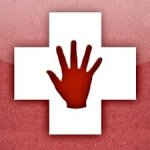 Outline of a white medical cross with a red hand inside against a red background.