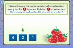 """An illustration of three strawberries with the numbers """"4,"""" """"2,"""" and """"1"""" alongside, and a green arrow pointing to the number """"2."""" Above are the words """"Samantha ate the same number of strawberries every day for 4 days and finished 8 strawberries. How many strawberries did she eat every day?"""""""